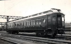 DLW Club Car 3454 0 2451 at Hoboken c-1930 - 1931 MU w-stained glass windows