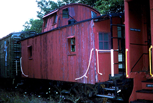 MCC PRR 18D Cabin Car in dead line at Green Pond Shop Aug. 5 1986