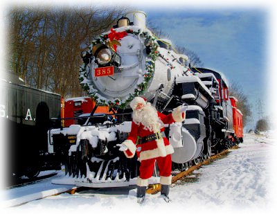 Santa & the 385 at a wintery WRM
